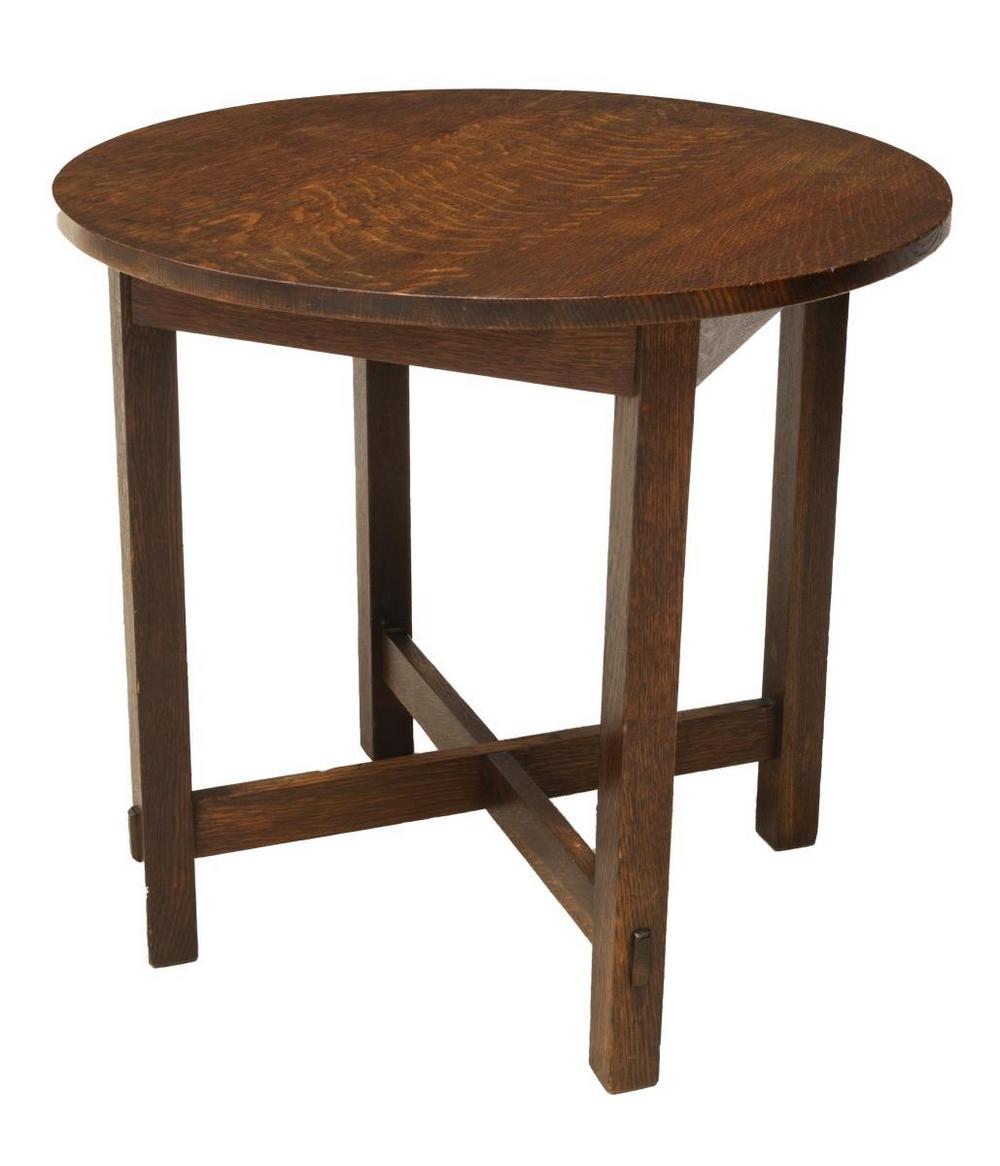 AMERICAN CRAFTSMAN OAK CIRCULAR LAMP TABLE
