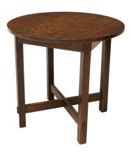 Lot 505: AMERICAN CRAFTSMAN OAK CIRCULAR LAMP TABLE