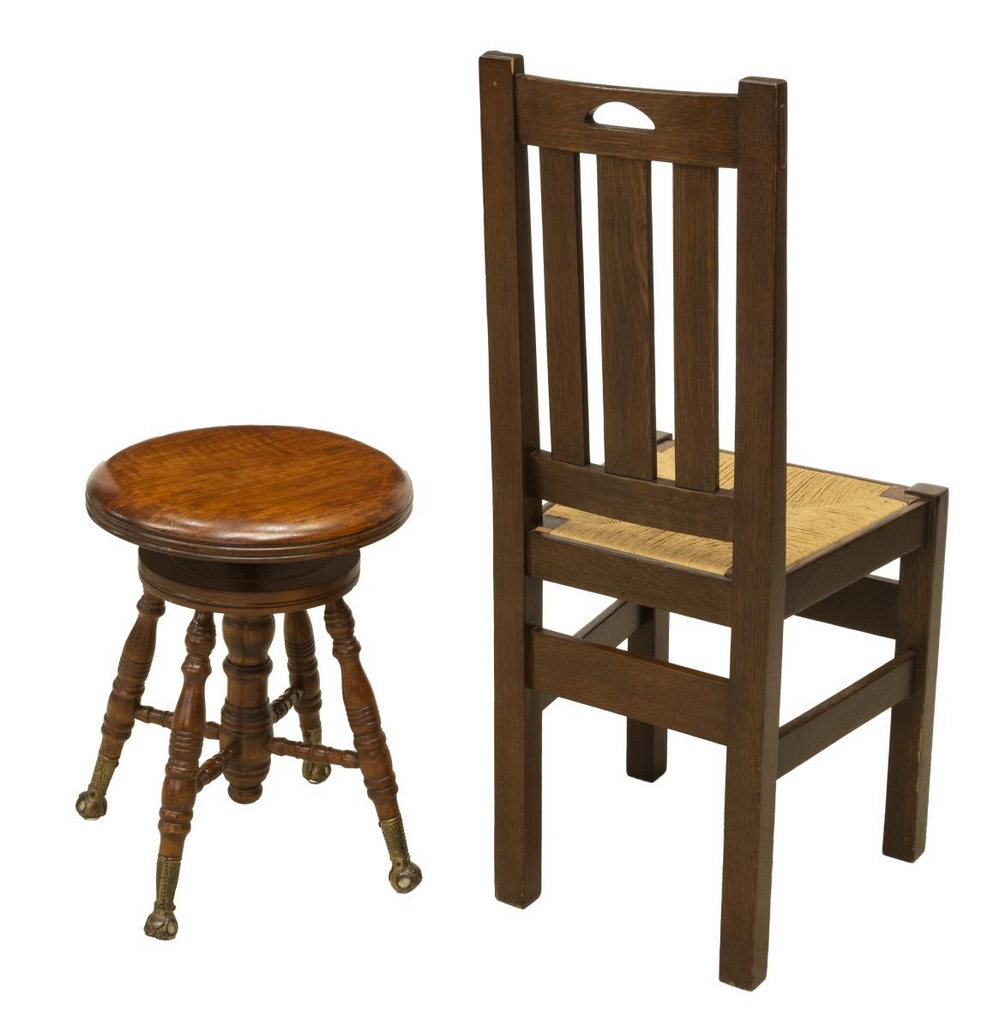 Lot 509: (2) CRAFTSMAN STYLE OAK CHAIR & VICTORIAN STOOL
