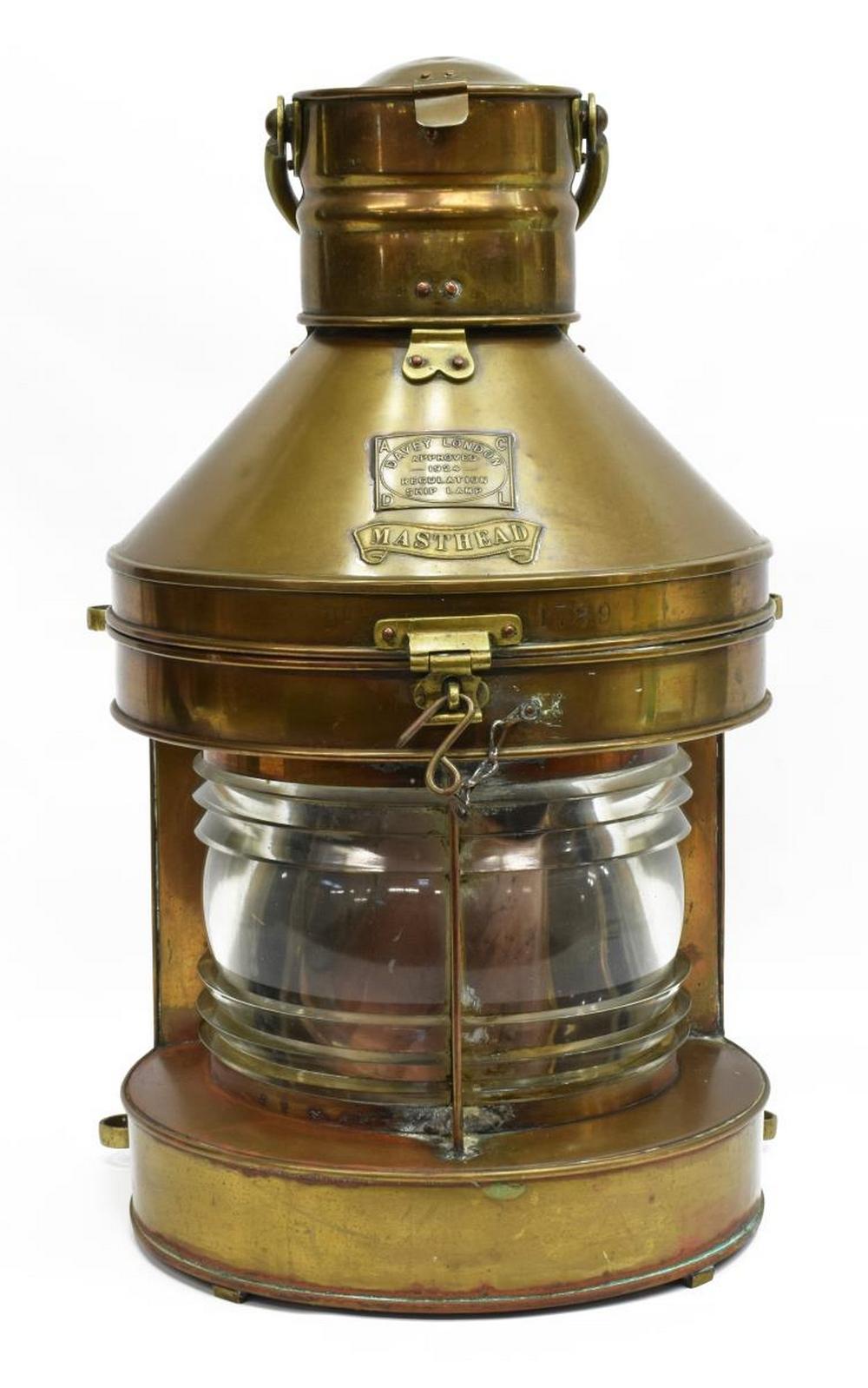 1924 COPPER & BRASS MASTHEAD SHIPS LAMP LANTERN