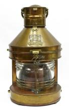 Lot 516: 1924 COPPER & BRASS MASTHEAD SHIPS LAMP LANTERN