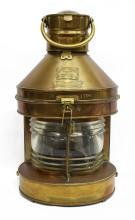 Lot 517: 1924 COPPER & BRASS MASTHEAD SHIPS LAMP LANTERN