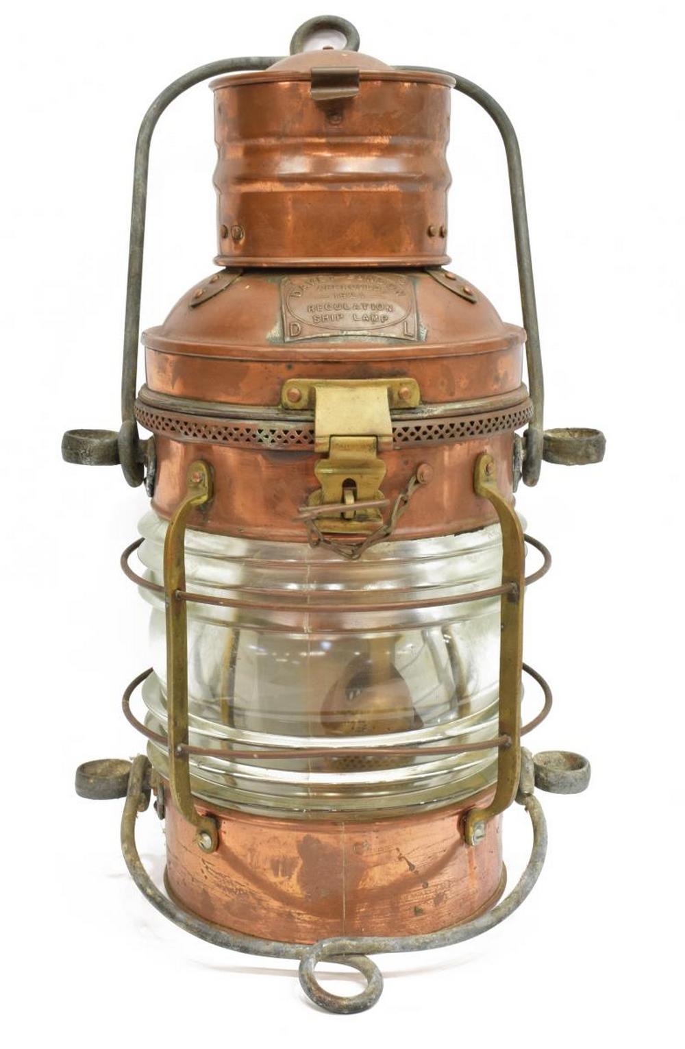DAVEY 1924 REGULATION COPPER SHIPS LAMP LANTERN