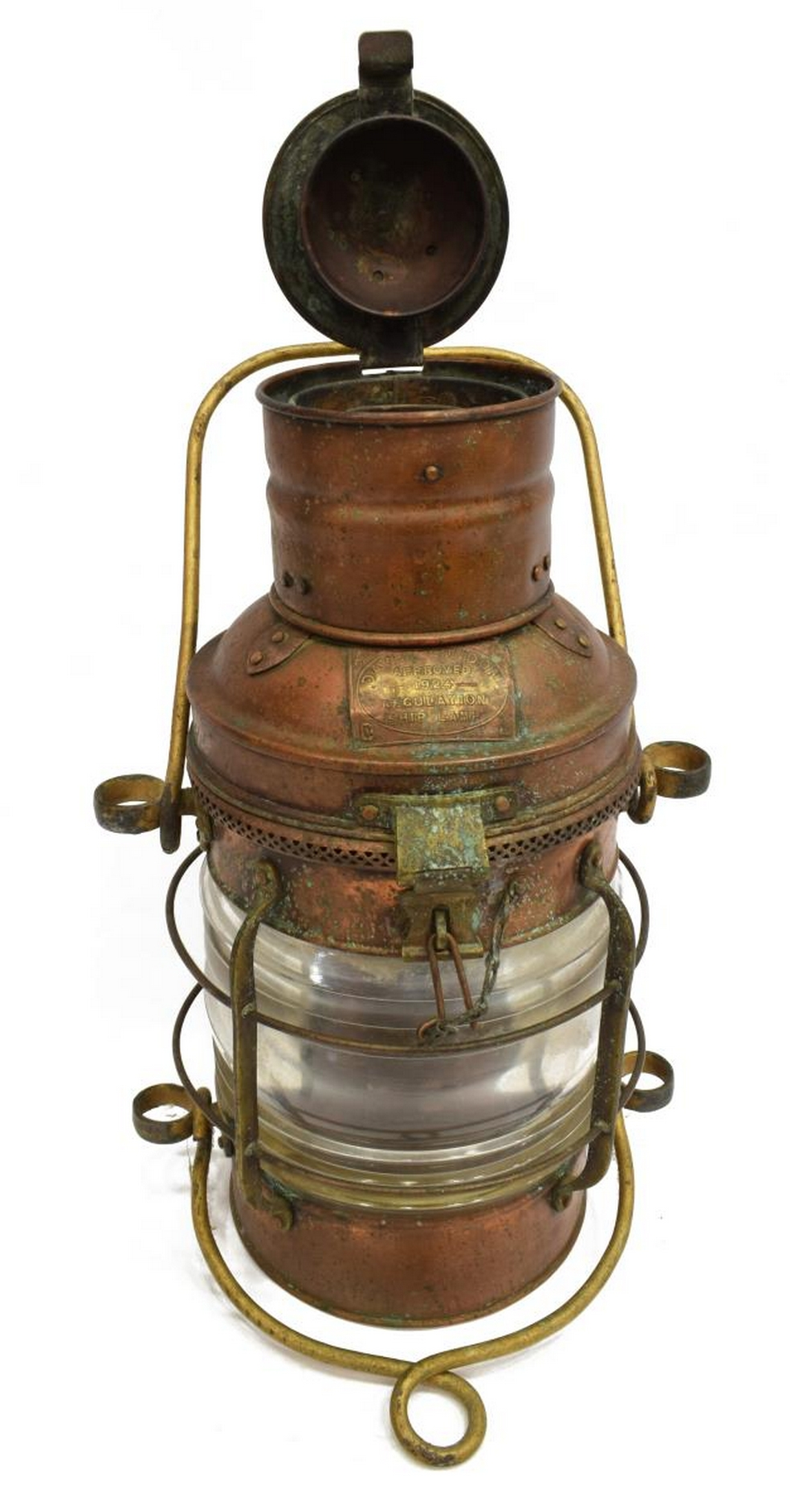 Lot 520: DAVEY 1924 REGULATION COPPER SHIPS LAMP LANTERN