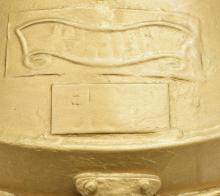 Lot 522: GOLD PAINTED HANGING SHIPS LANTERN, ELECTRIFIED