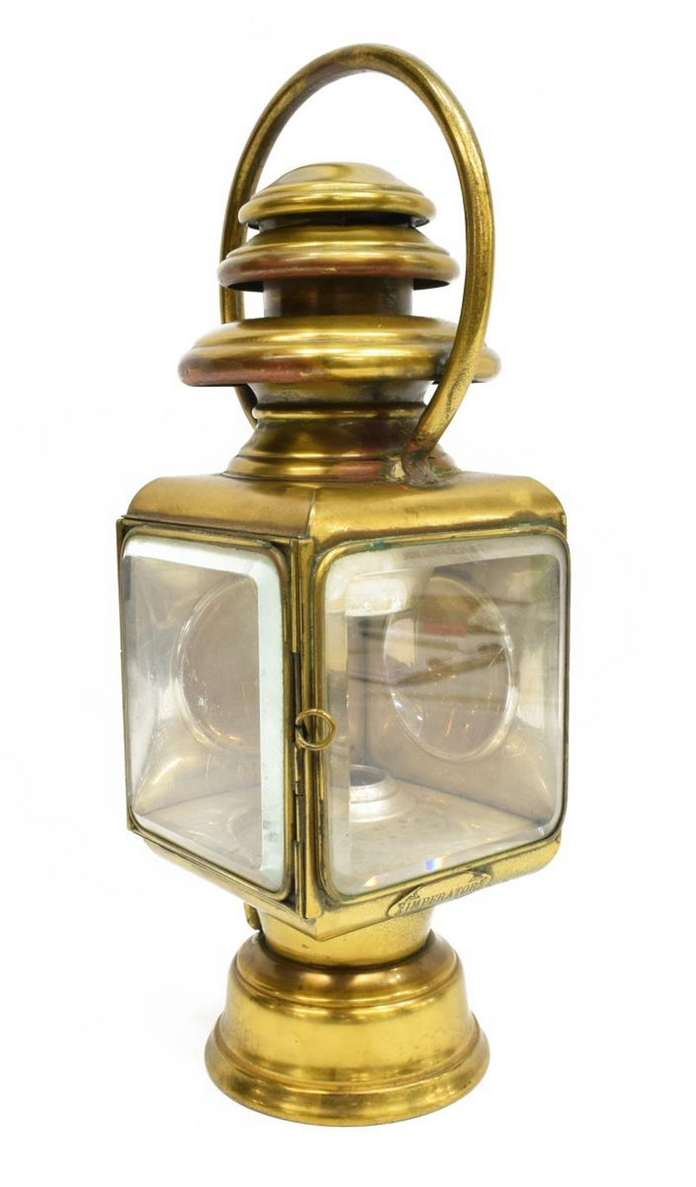 ANTIQUE FRENCH BRASS & NICKEL CARRIAGE LAMP