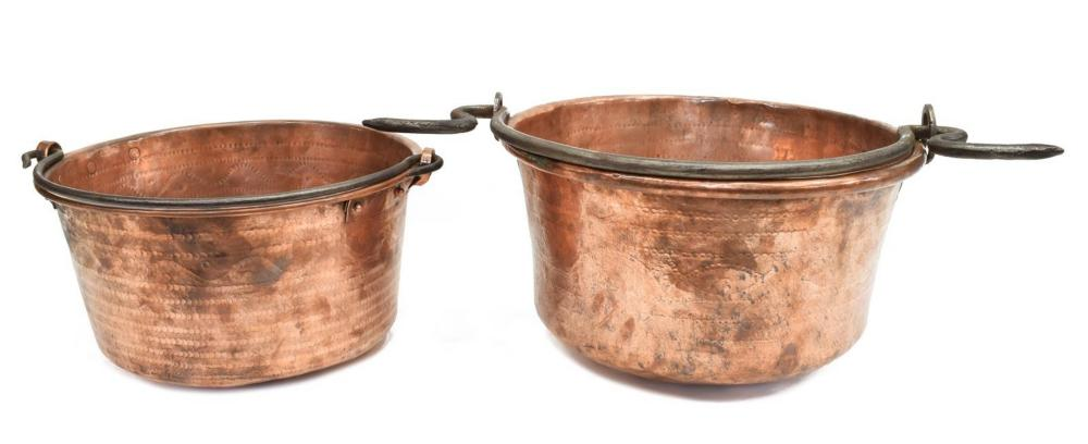 Lot 524: (3) FRENCH COPPER FISH POACHER & LARGE POTS