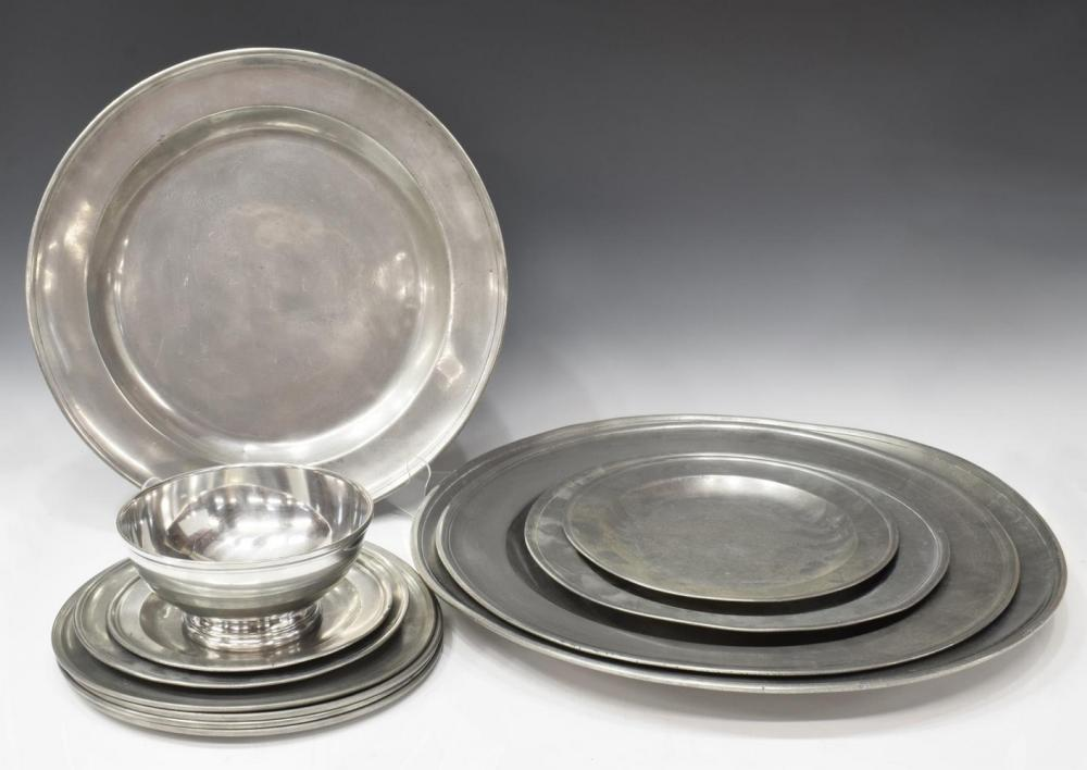 (13) ANTIQUE PEWTER LARGE CHARGERS & PLATES