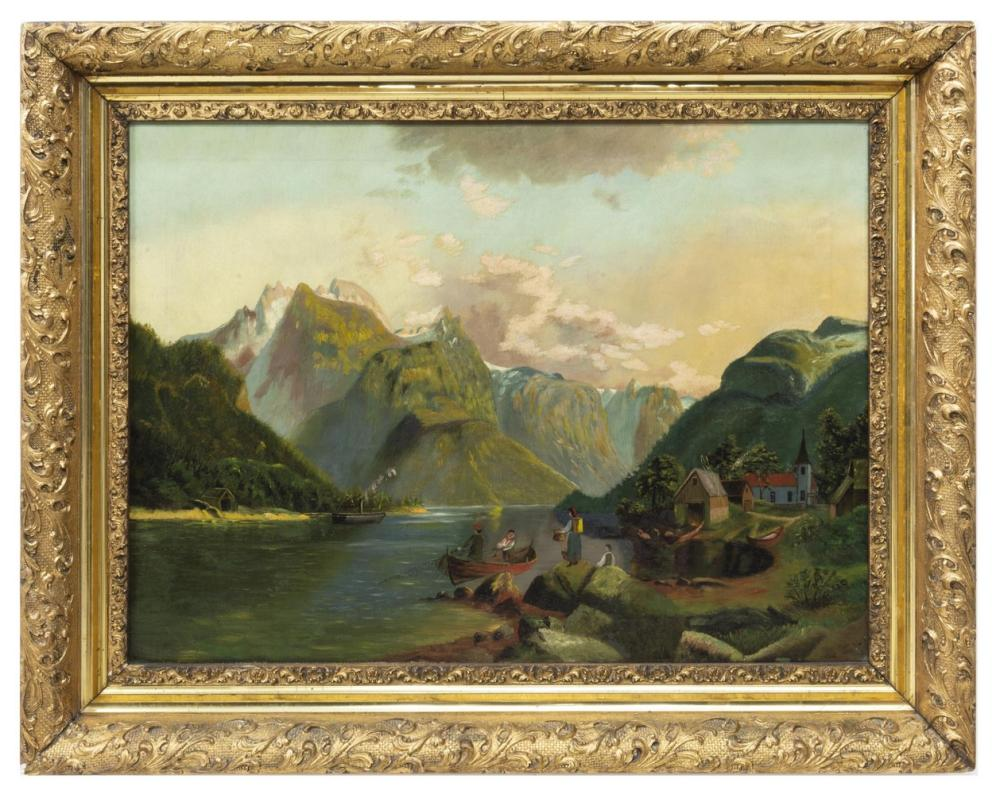 Lot 527: FRAMED OIL ON CANVAS OF A FISHING VILLAGE