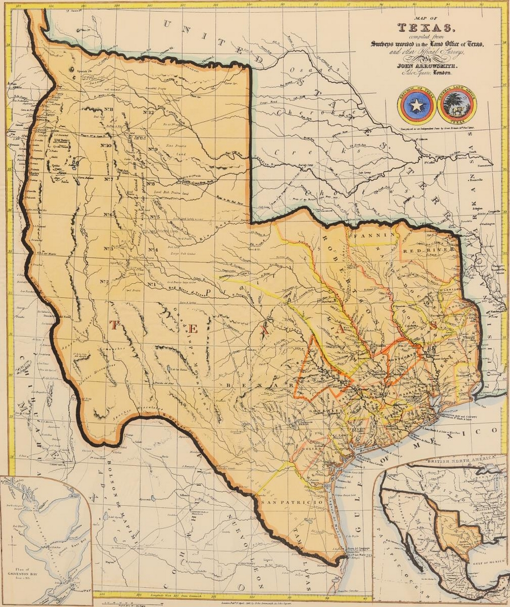FRAMED MAP OF THE STATE OF TEXAS
