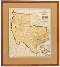 Lot 530: FRAMED MAP OF THE STATE OF TEXAS