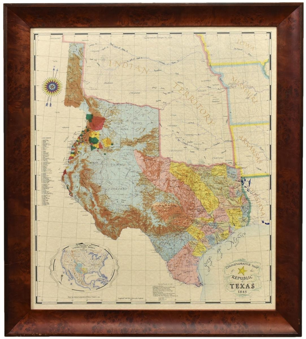 Lot 531: FRAMED COMMEMORATIVE MAP OF THE REPUBLIC OF TEXAS