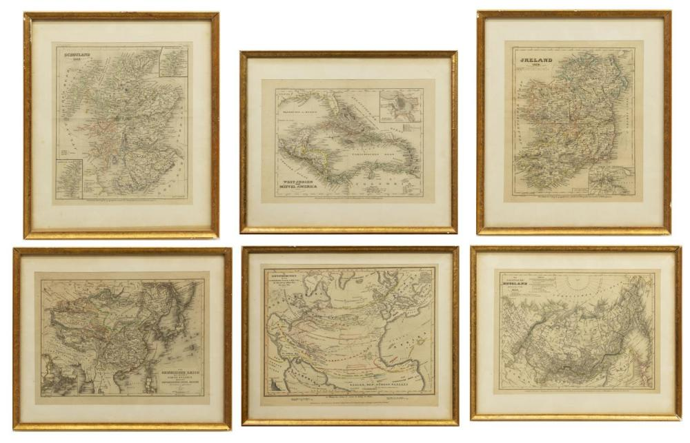 (8) GERMAN MEYER'S ATLAS ENGRAVED MAPS ON PAPER