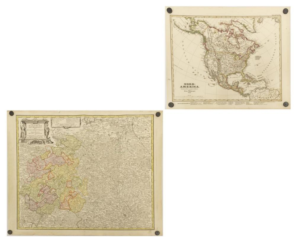 Lot 533: (2) UNFRAMED GERMAN MAPS, SAXONY & NORTH AMERICA