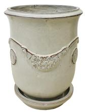 Lot 534: LARGE ANDUZE CREAM-TONE GLAZED TERRACOTTA POT