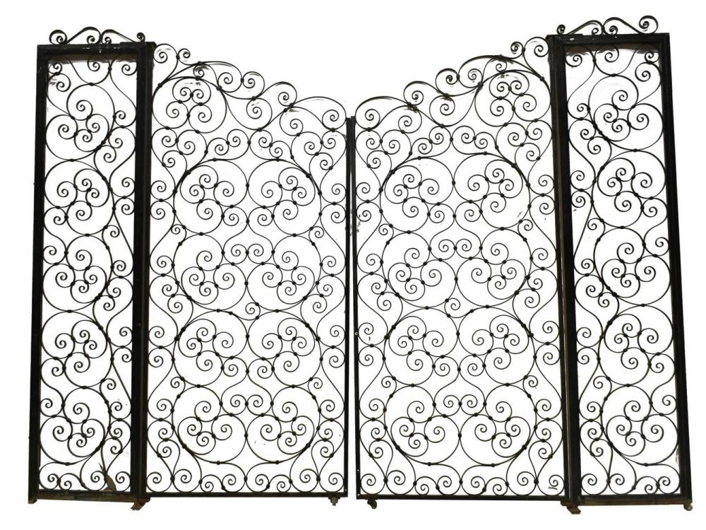 "FRENCH SCROLLED WROUGHT IRON GATE, 73.5"" X 97.25"""