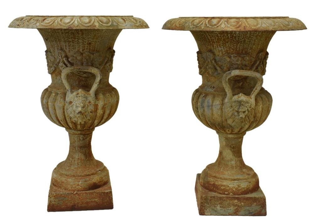 "(2) CAMPAGNA FORM CAST IRON PLANTERS, 30""H"