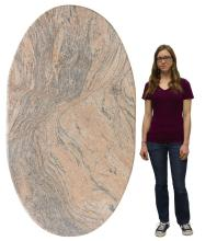 "Lot 539: LARGE PINK MARBLE SLAB TABLETOP, APPROX 44"" X 75"""