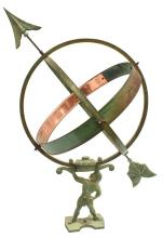 Lot 541: ARCHITECTURAL ARMILLARY SPHERE ATLAS SUNDIAL