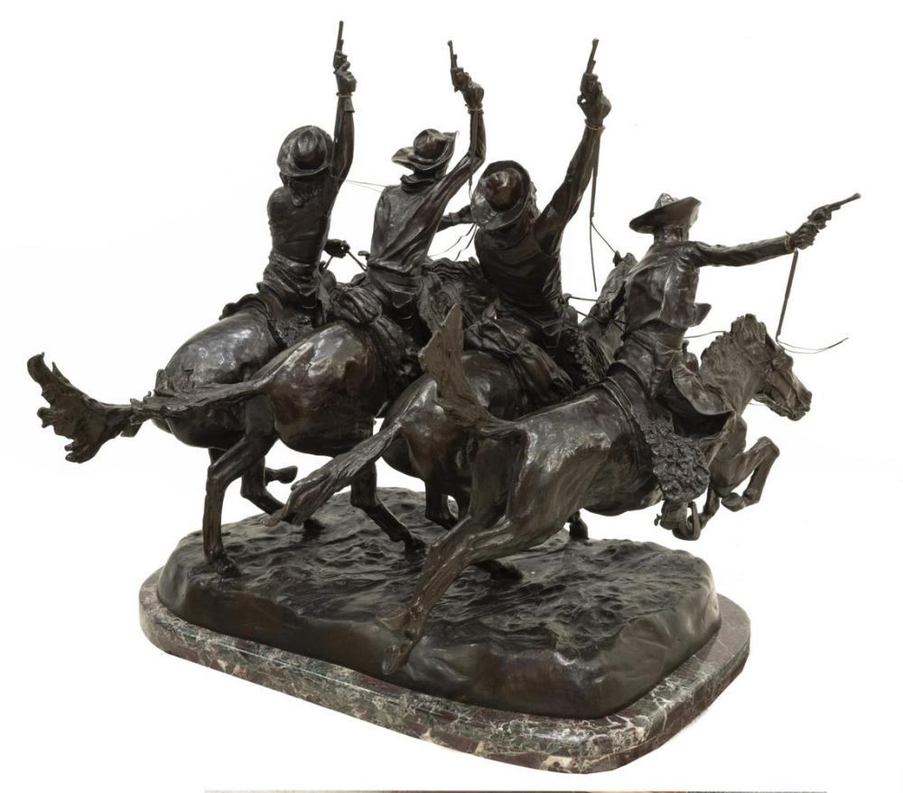 Lot 543: LARGE WESTERN BRONZE AFTER FREDERIC REMINGTON