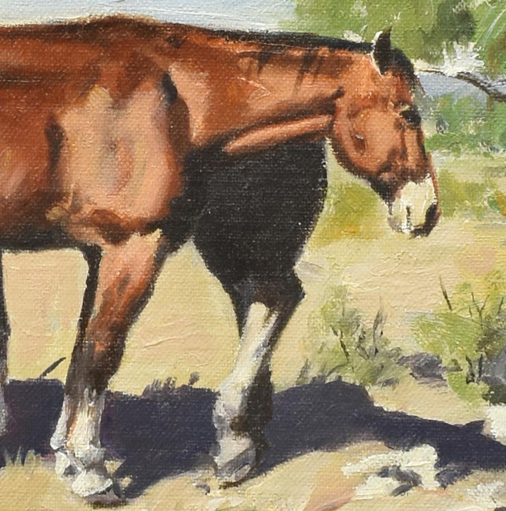 Lot 545: JAMES BOREN (TX, 1921-1990) HORSES OIL PAINTING