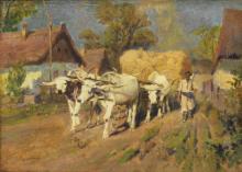 Lot 547: KAROLY CSERNA (1867-1944) FARMER & CATTLE