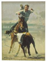Lot 548: ROY GRINNELL (B.1933) WESTERN, ROPING A STEER