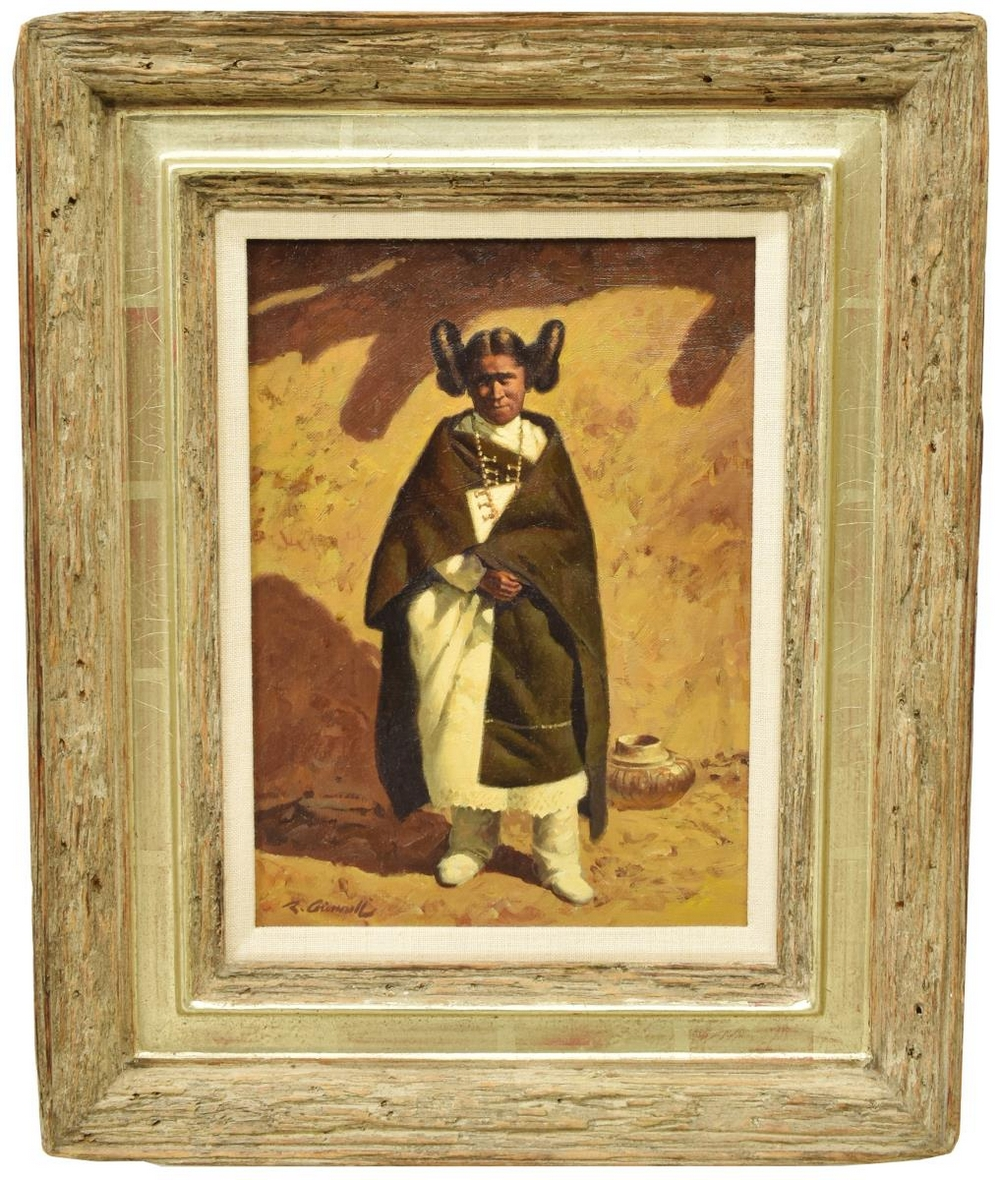 Lot 550: ROY GRINNELL (B.1933) OIL PAINTING, HOPI WOMAN