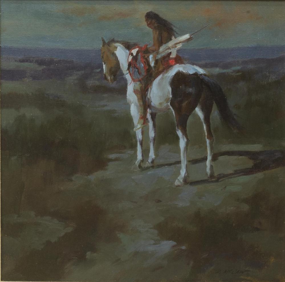 Lot 553: DAN McCAW (B.1942) INDIAN ON HORSEBACK PAINTING