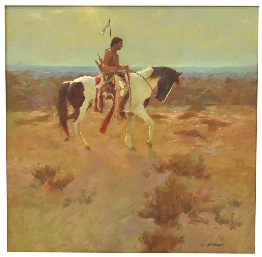DAN McCAW (B.1942) NAVAJO HORSE RIDER PAINTING