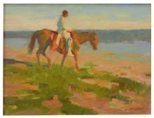 Lot 556: DAN McCAW (B.1942) WESTERN SUNSET, LONE RIDER