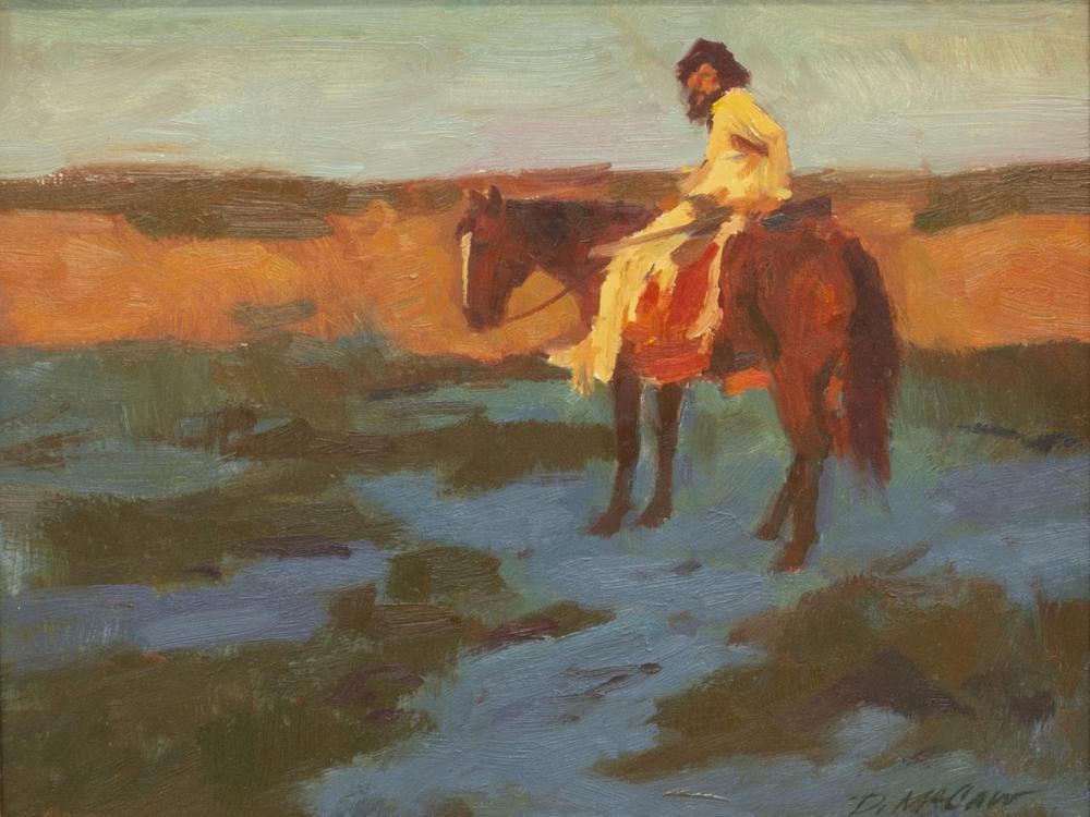 DAN McCAW (B.1942) PAINTING, MAN ON HORSEBACK