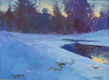 Lot 560: DAN McCAW (B.1942) WINTER FOREST WITH POND