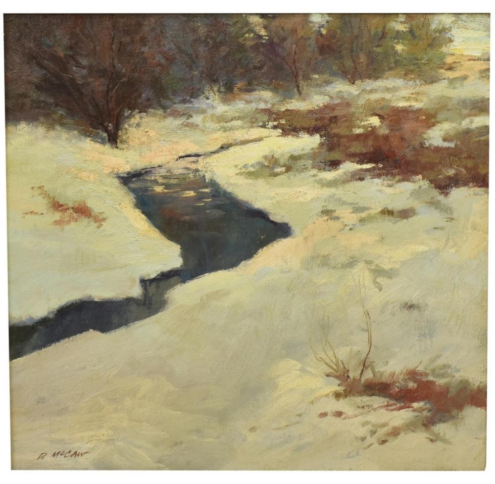 DAN McCAW (B.1942) WINTER STREAM OIL PAINTING