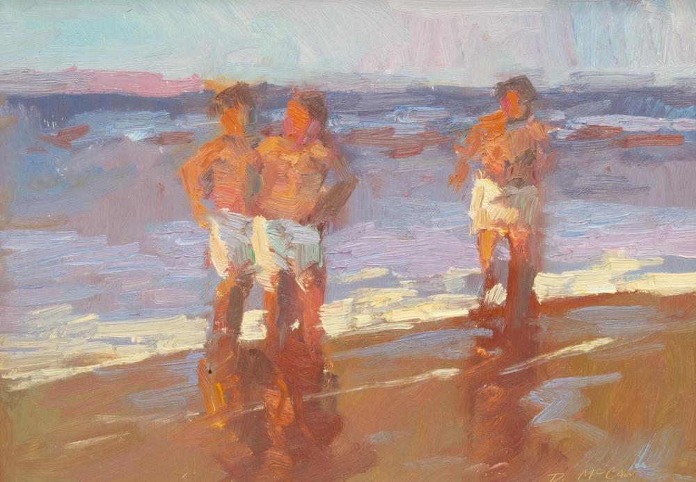 DAN McCAW (B.1942) BEACH SWIM OIL PAINTING