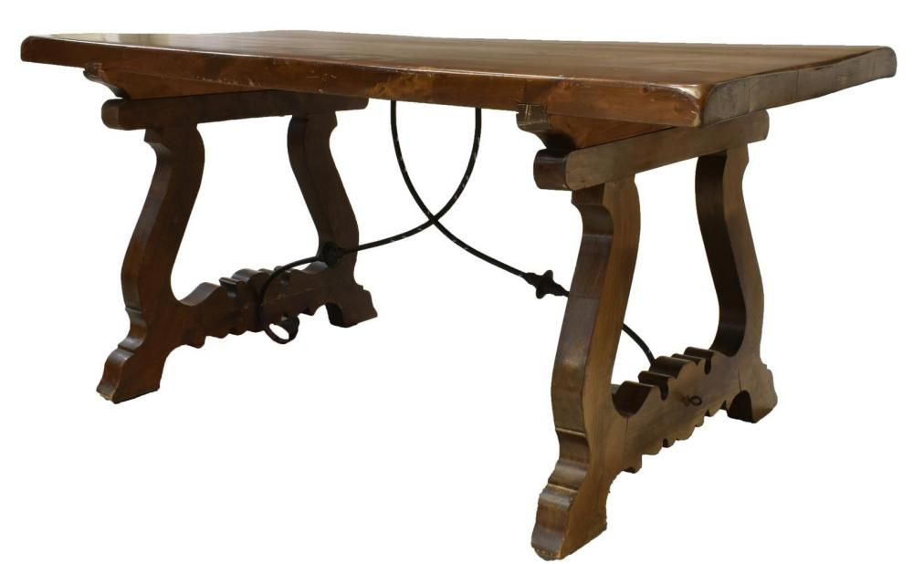 SPANISH BAROQUE STYLE WALNUT REFFECTORY TABLE