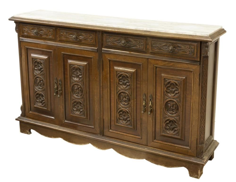 SPANISH MARBLE-TOP CONSOLE CABINET