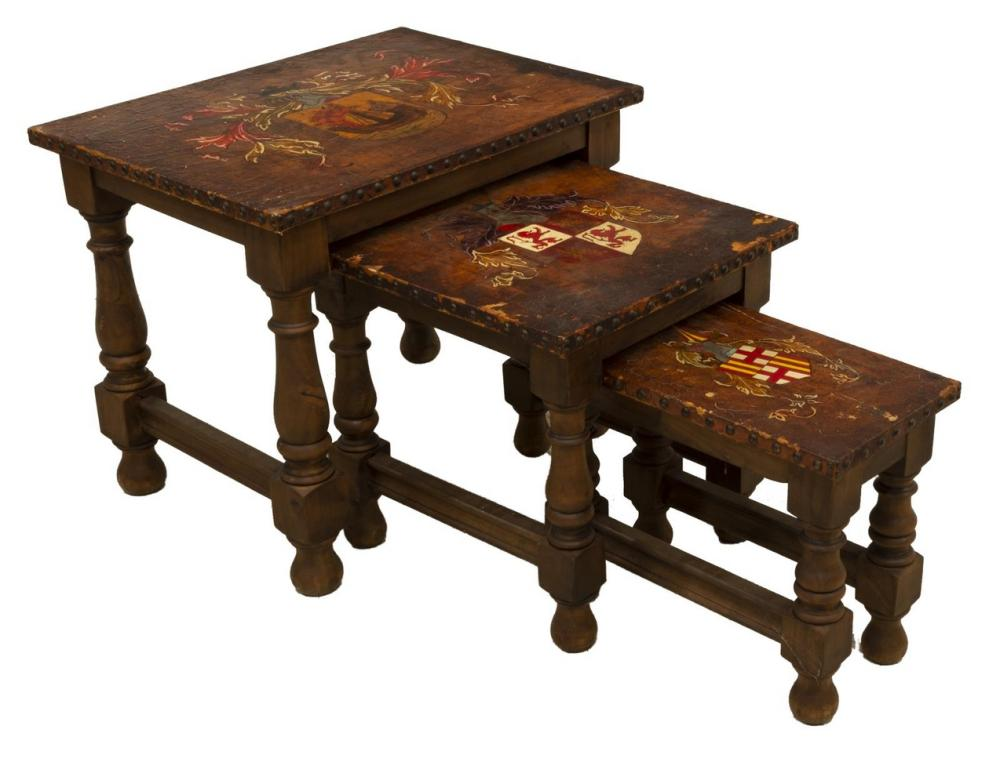 (3) SPANISH LEATHER-TOP WALNUT NESTING TABLES