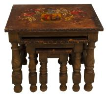 Lot 578: (3) SPANISH LEATHER-TOP WALNUT NESTING TABLES