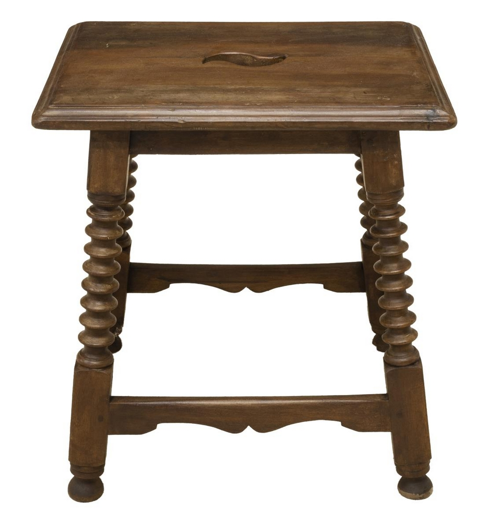Lot 579: SPANISH CARVED WALNUT STOOL, LATE 19TH C.