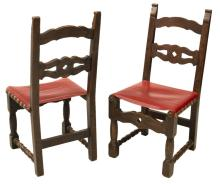 Lot 581: (6) SPANISH WALNUT UPHOLSTERED DINING CHAIRS
