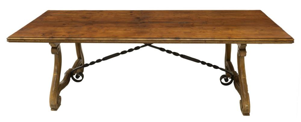 "SPANISH BAROQUE STYLE DINING TABLE, 97""L"