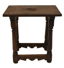 Lot 584: SPANISH CARVED WALNUT STOOL, LATE 19TH C.