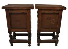 Lot 588: (PAIR) SPANISH LOW SIDE TABLES NIGHTSTANDS