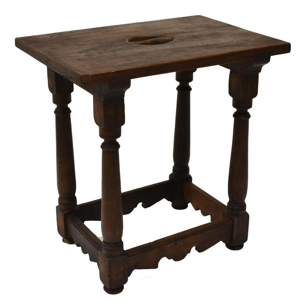 SPANISH CARVED WALNUT STOOL, LATE 19TH C.