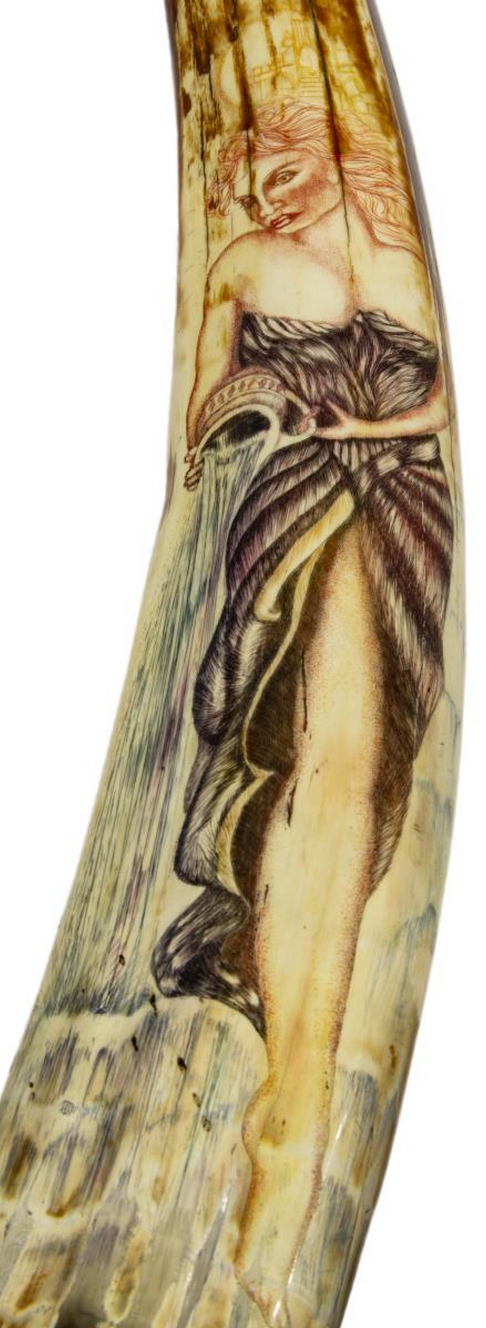 """Lot 485A: ARTIST PAINTED FOSSILIZED WALRUS TUSK, 31""""L"""