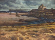 JOSEPH SANTORO WATERCOLOR MARINE LANDSCAPE