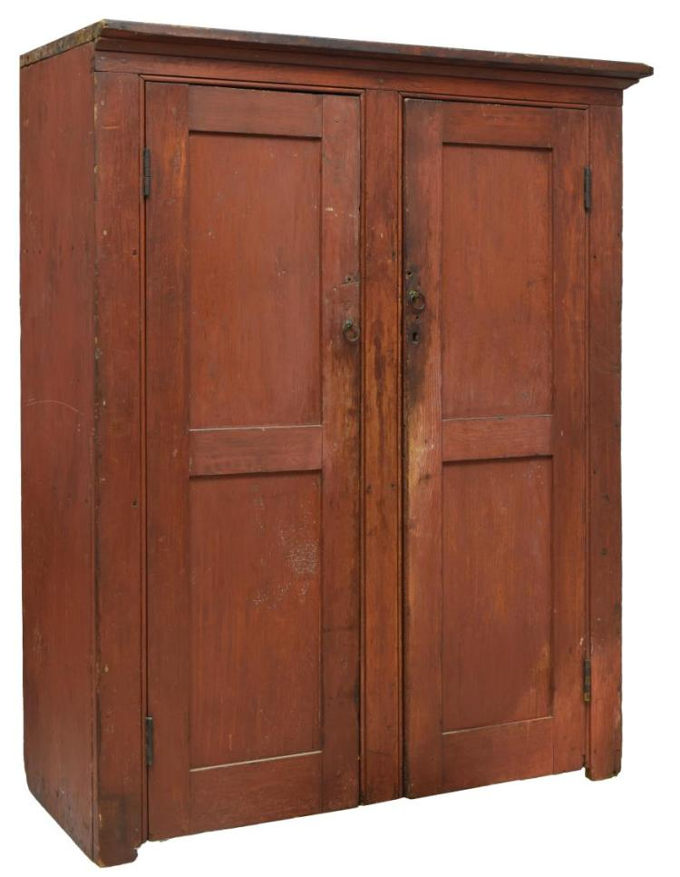 American Red Buttermilk Painted Pine Cabinet