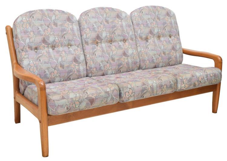 danish modern upholstered teak frame 3 seater sofa. Black Bedroom Furniture Sets. Home Design Ideas