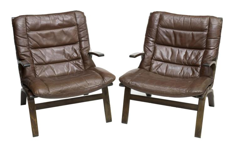 Pair Danish Mid Century Leather Lounge Chairs